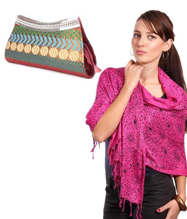 Fidato Trendy Combo for Women - Pink Stole and Multicolour Banarasi Clutch