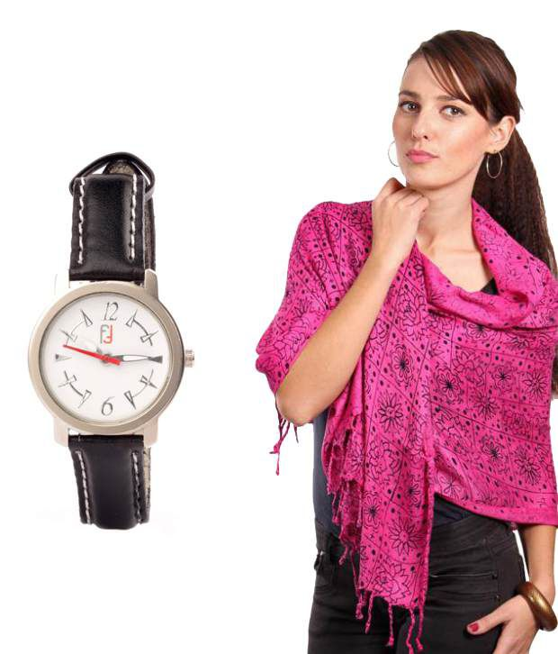 Fidato Trendy Combo for Women - Pink Stole and Black Regular Watch