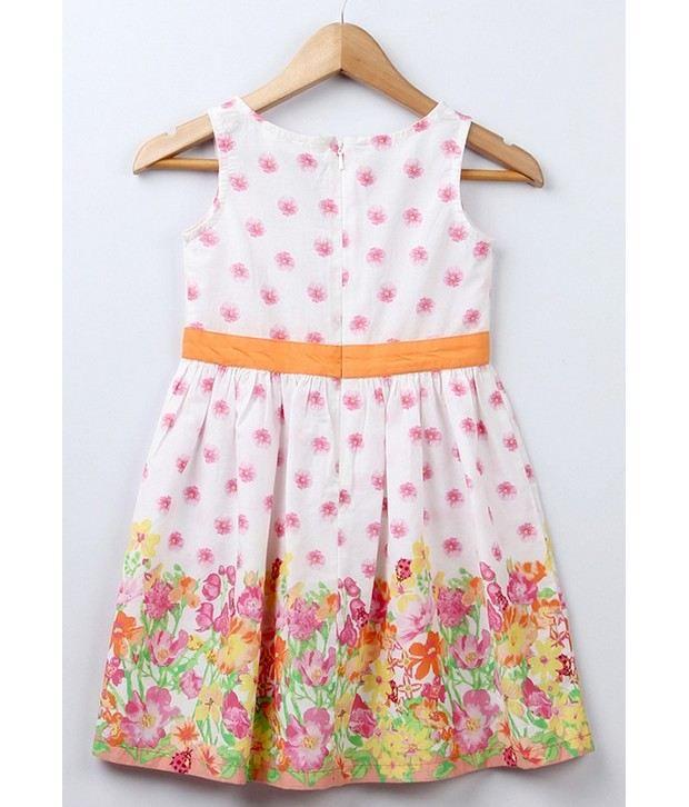 Beebay Border Printed Multi Color Dress For Infant Girls