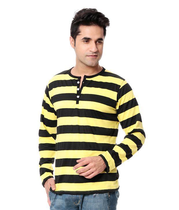 Leana Black Full Cotton Henley T-Shirt