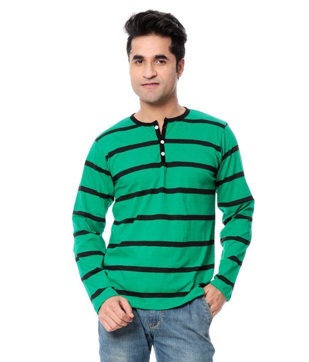 Leana Green Full Cotton Henley T-Shirt
