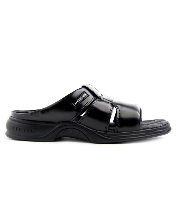 Red Chief Black  Slippers & Flip Flops
