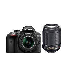 Nikon D3300 with AF-P 18mm-55mm VR Lens + AF-S 55mm-200mm VR II Lens , Memory card and Bag