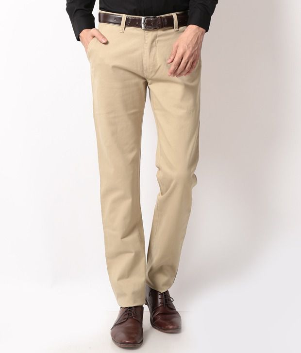 British Terminal Beige Regular Casuals Chinos