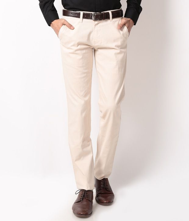 British Terminal White Slim Casuals Chinos