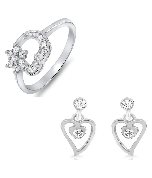 Combo Of Finger Rings and Earring Danglers For Mom Made With Crystal And CZ
