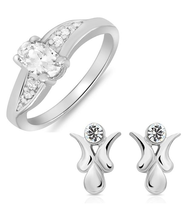 Combo Of Finger Rings and Earring Studs Made With Crystal And CZ