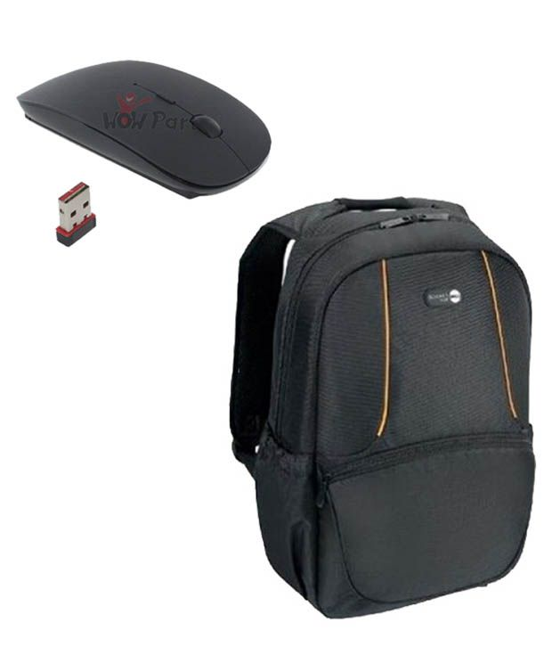 Black Laptop Backpack With Wireless Mouse Combo Manufactured For Dell Laptops