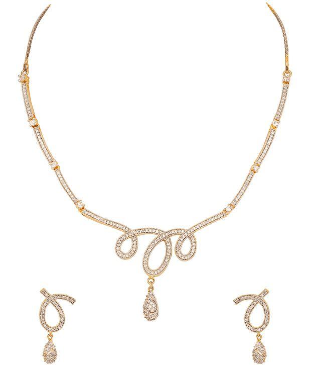 Voylla Cursive Wonder; Necklace Set with Beautiful Cursive Design; Cz Stone