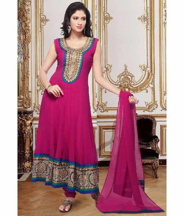 Utsav Fashion Pink Embroidered Faux Georgette Stitched Anarkali  Salwar Suit