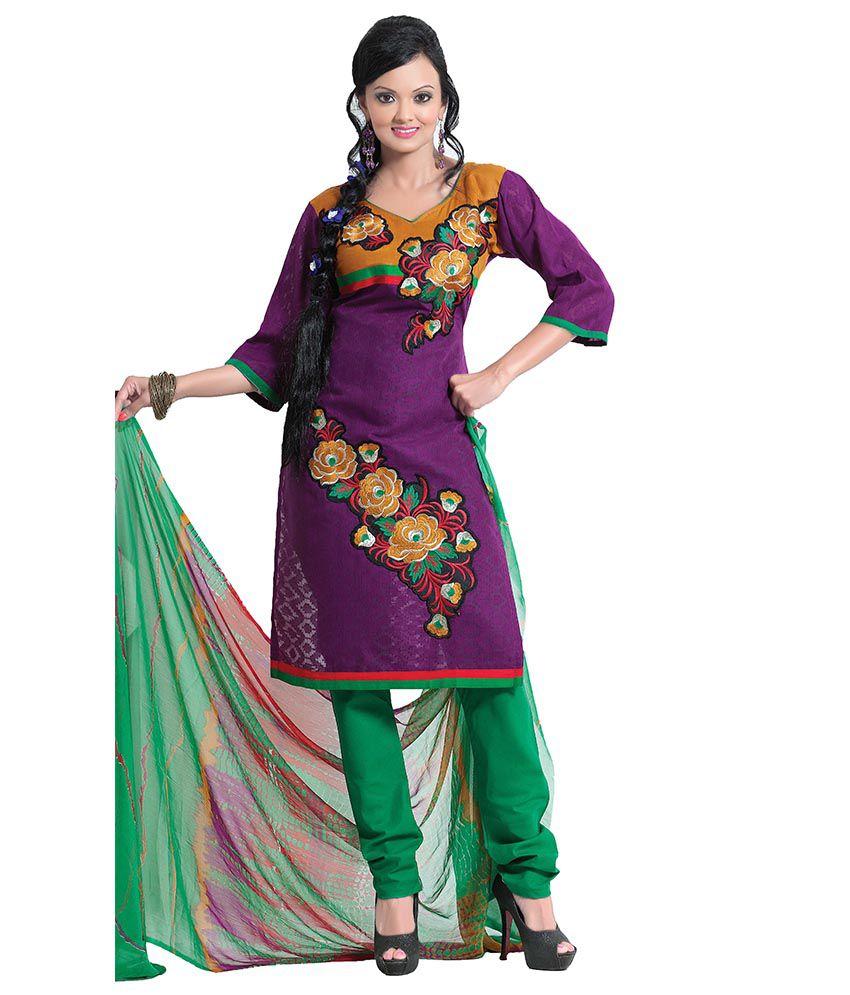 Vineberi unstitched embroidered purple salwar suit dress