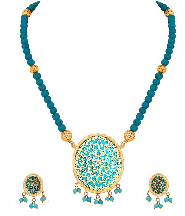 Voylla Blue Floral Gold Plated Necklace Set With Thewa Art; Oval Pendant