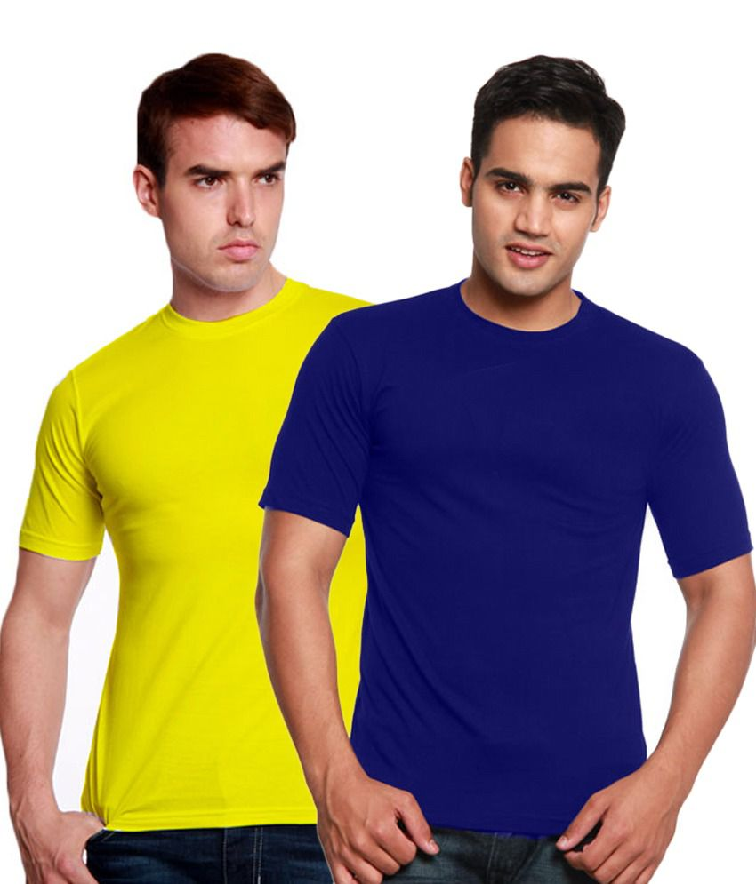 Valtro Blue & Yellow Round Neck T-Shirts Pack of 2