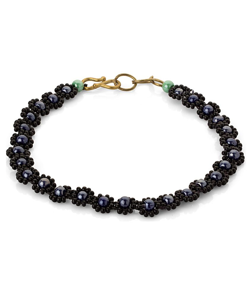 Voylla Anklet With Classy Black Floral Beads