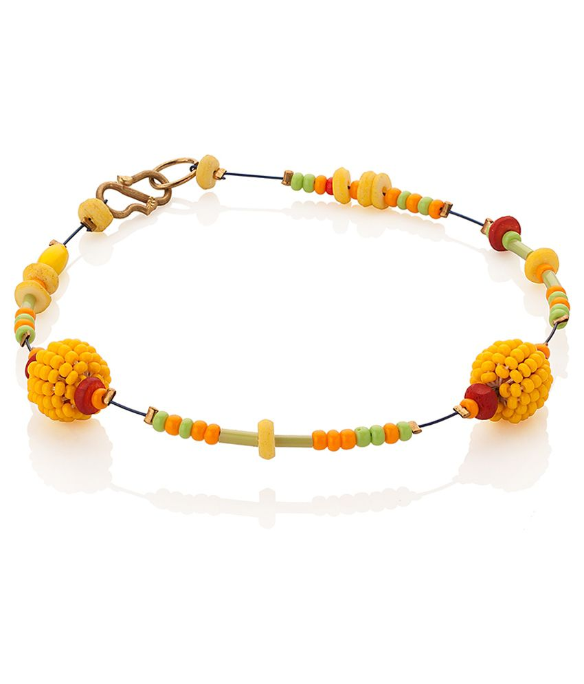 Voylla Bead Anklet For One Foot with Yellow; Brown; Orange Beads
