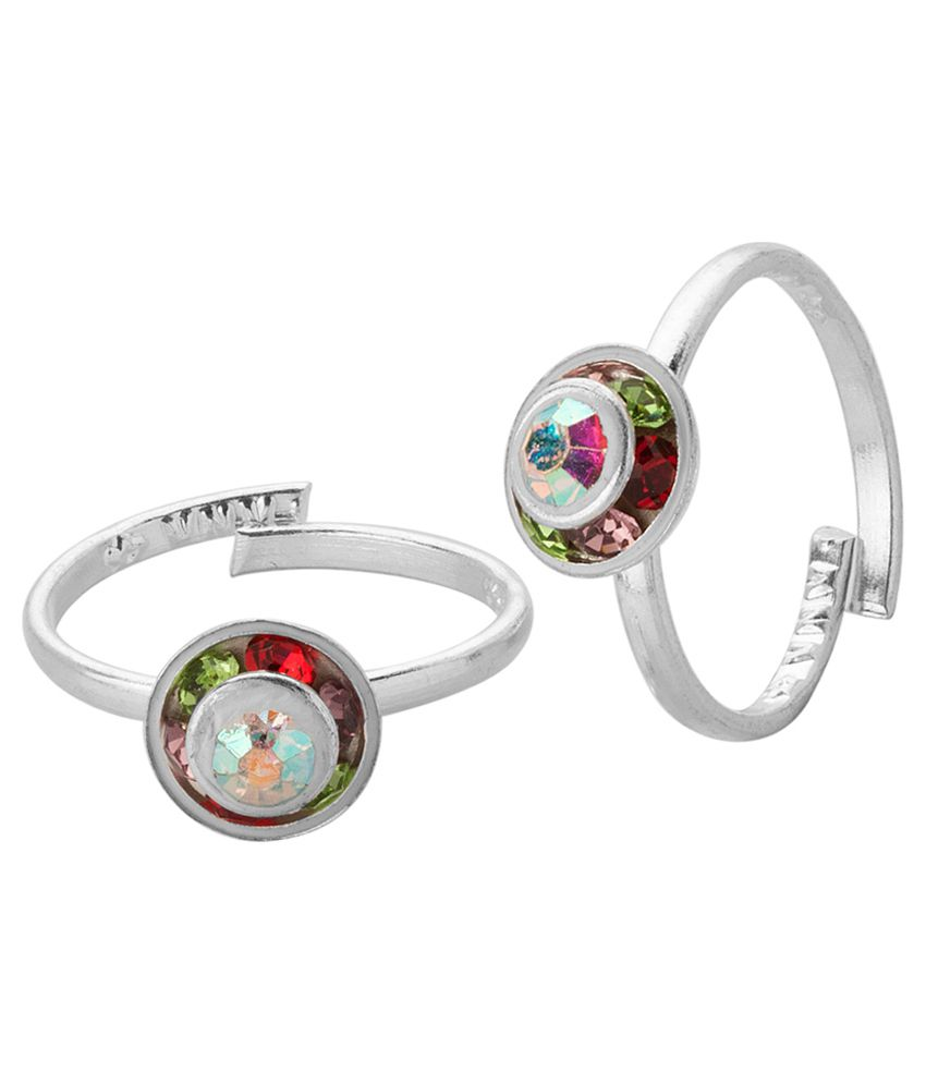 Voylla Cone Shaped Toerings with Colourful Stones; Silver Tone