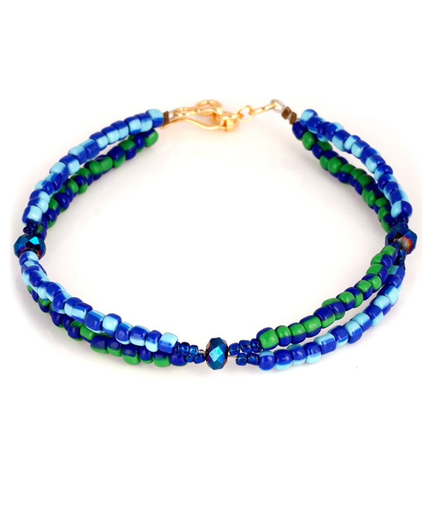 Voylla Exquisite Blue And Green Beaded Hook Anklets Pair