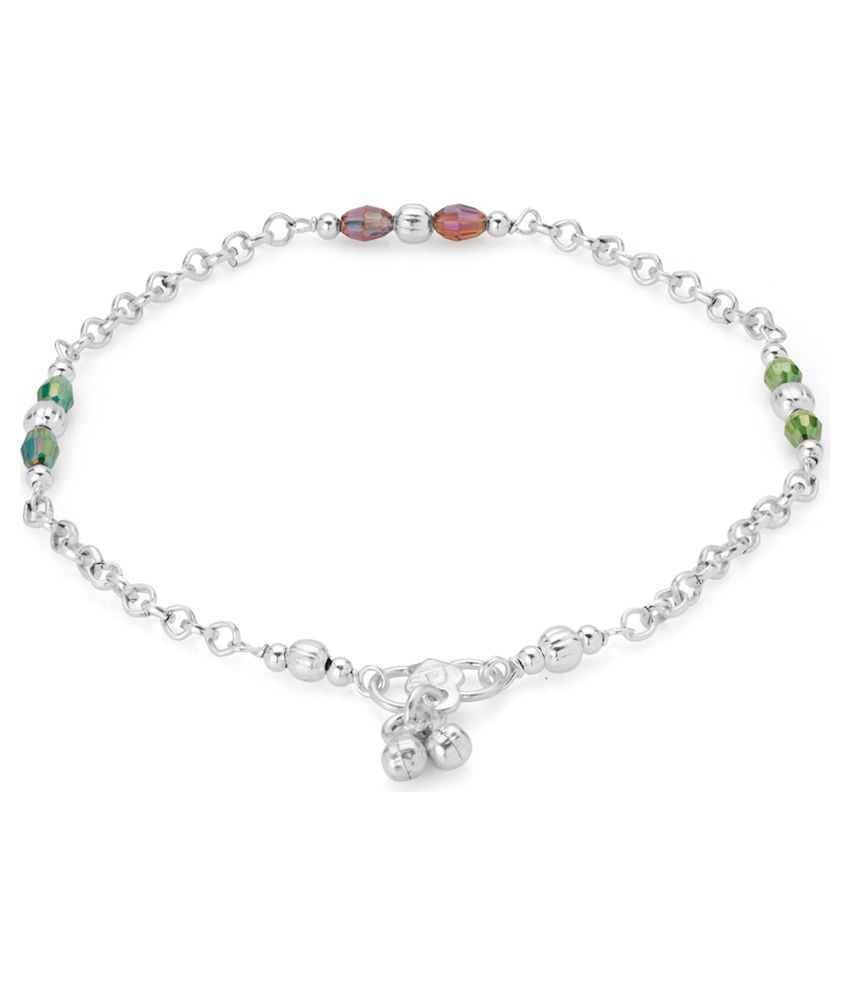 Voylla Exquisite Silver Plated Pair Of Crystal Anklets