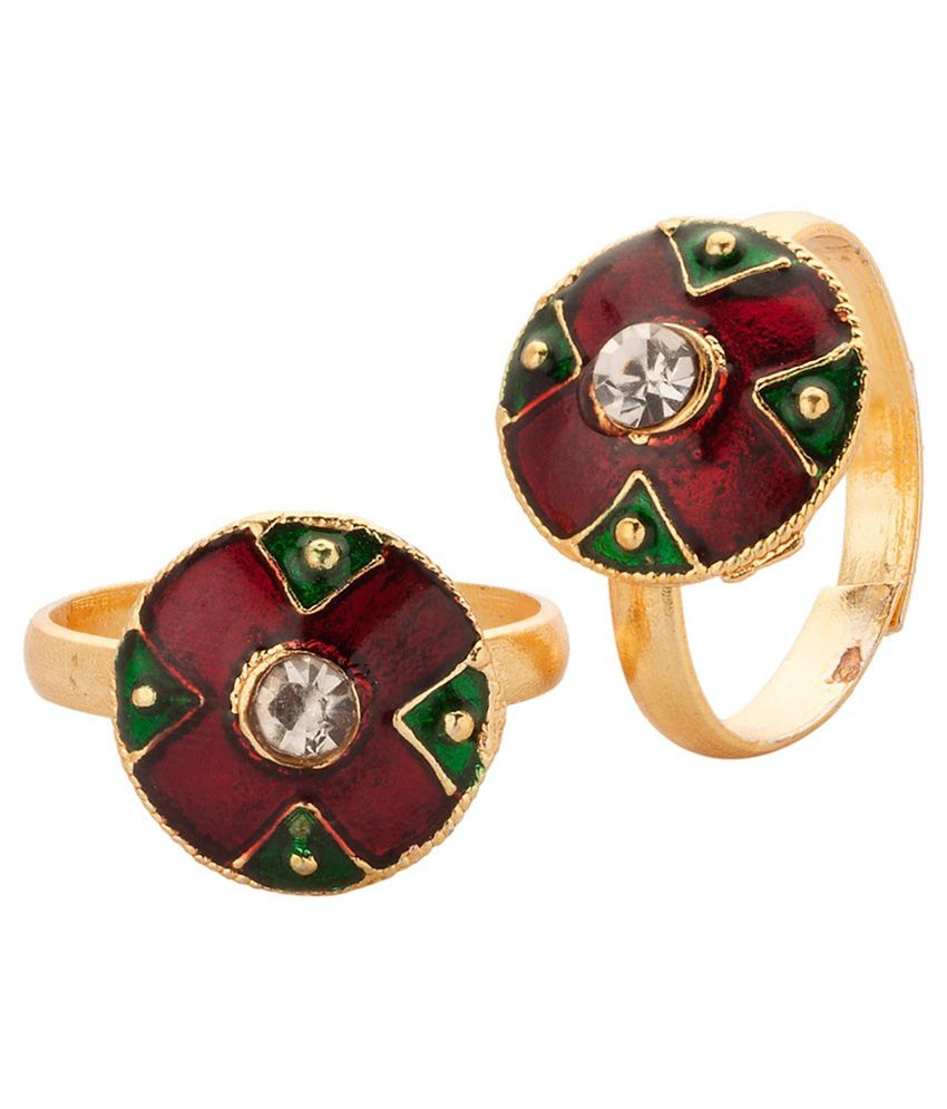 Voylla Gold Plated Toe Rings With Magnificent Enamel Work