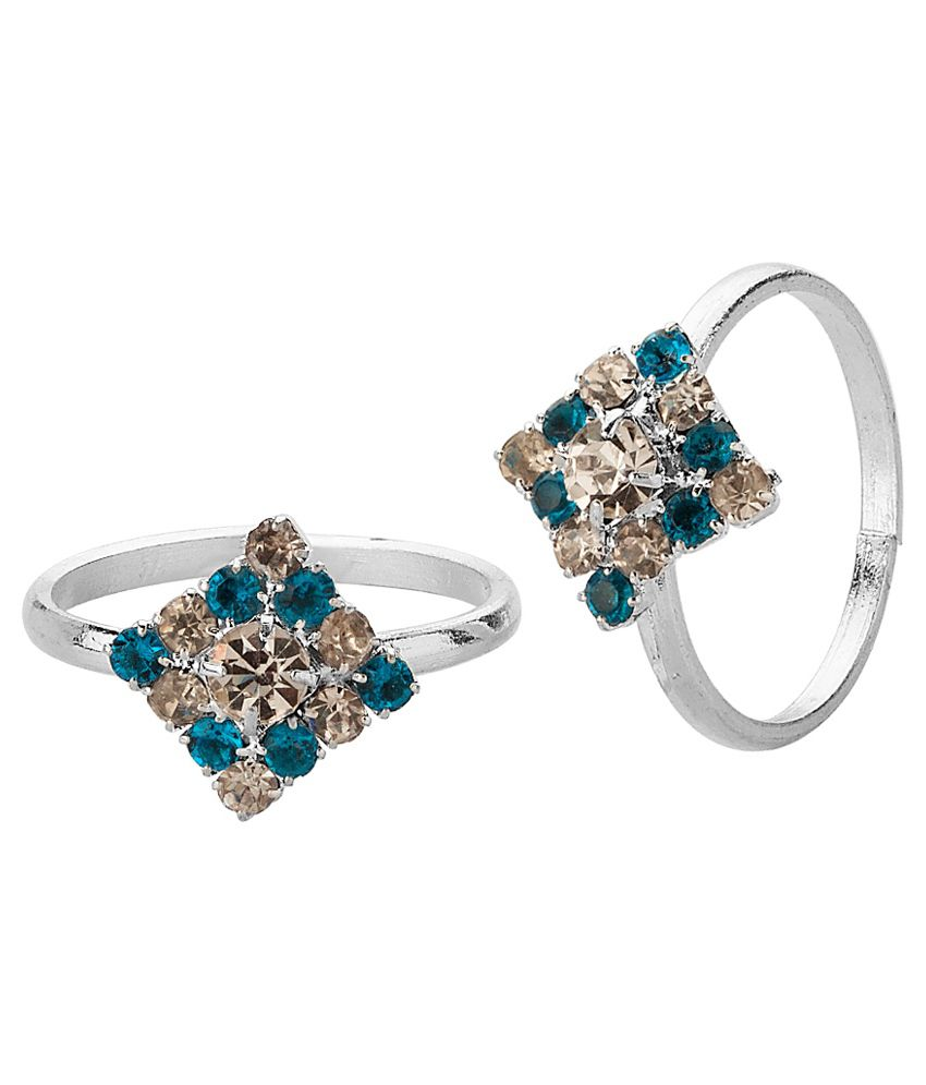 Voylla Rhombic Style Toe Ring Pair With Pretty Blue Stones