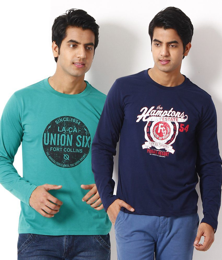 Fort Collins Combo of 2 Cyan and Navy Blue T Shirts