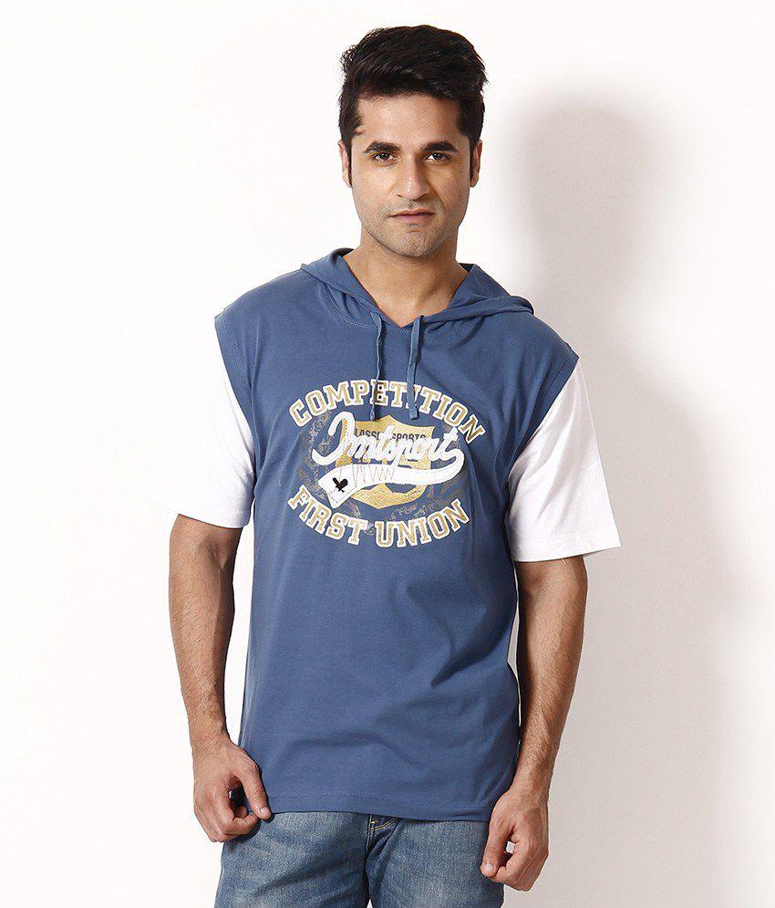 Impact Blue Hooded T Shirt
