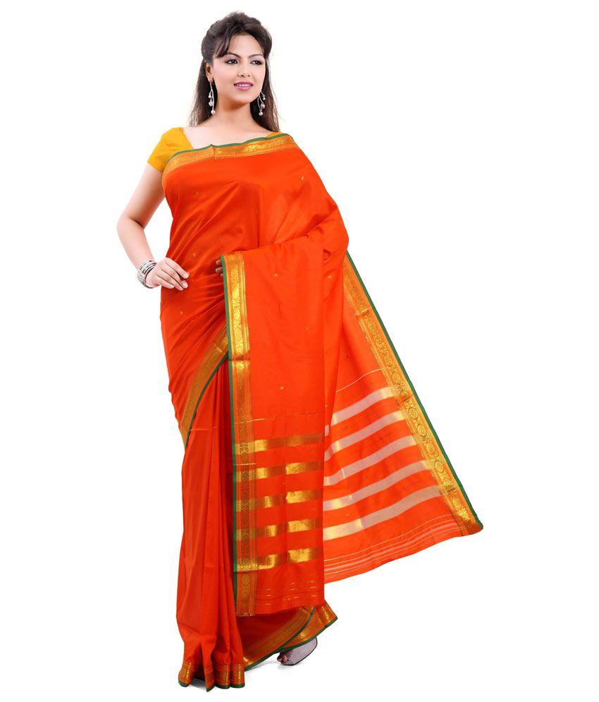 7e808de92 Ishin Orange Art Silk Saree - Buy Ishin Orange Art Silk Saree Online at Low  Price - Snapdeal.com