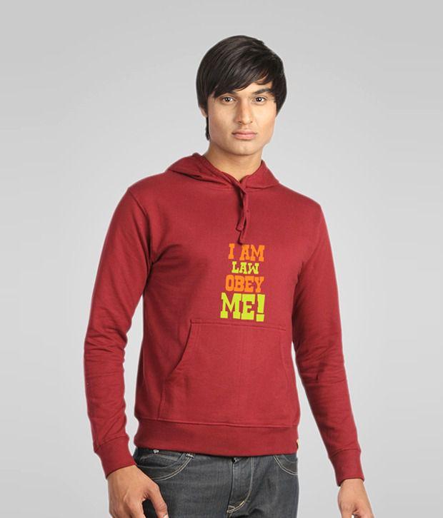 Campus Sutra Maroon I am Law Obey Me Sweatshirt