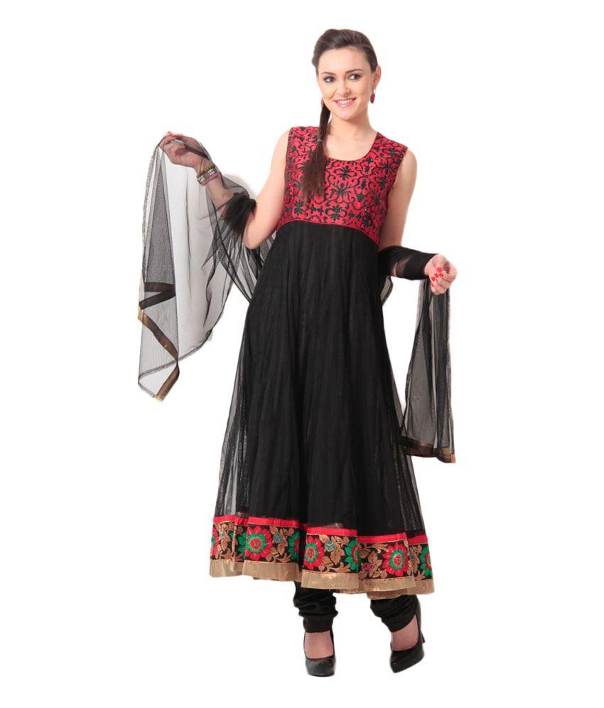 Concepts Black Net Stitched Anarkali Suit
