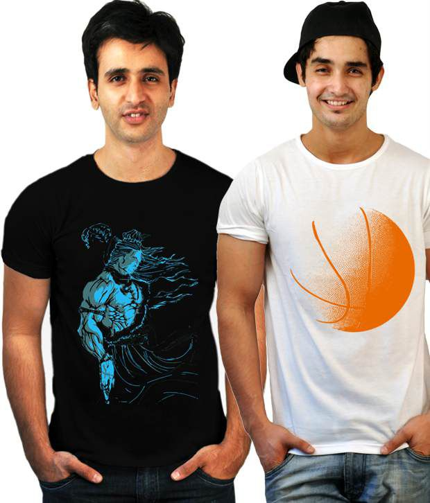 Incynk Combo of 2 Black-White Cotton T Shirts