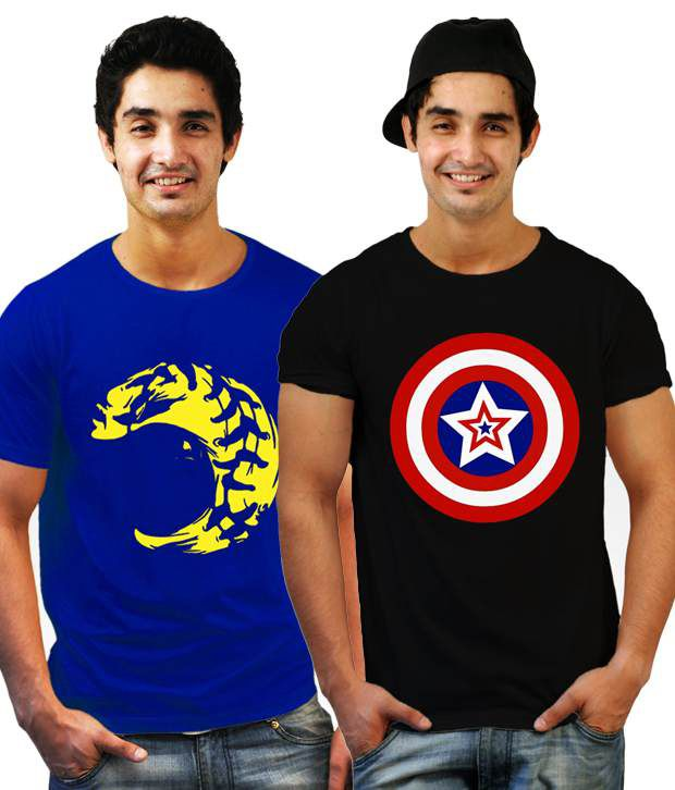 Incynk Combo of 2 Classy Royal Blue-Black T Shirts