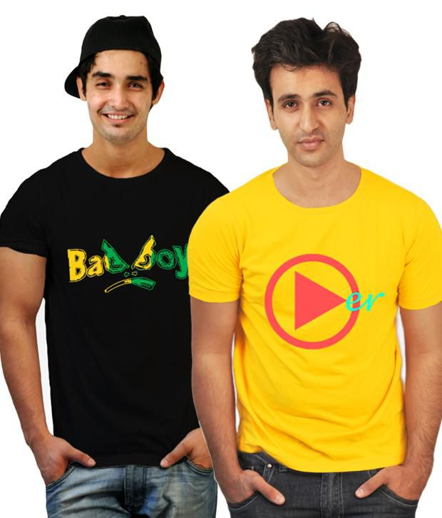 Incynk Combo of 2 Cool Yellow-Black Printed T Shirts