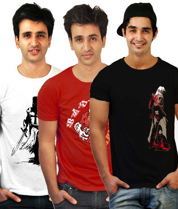 Incynk Exquisite Pack Of 3 Red-White-Black T-Shirts