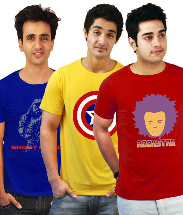 Incynk Exquisite Pack Of 3 Yellow-Red-Blue T-Shirts