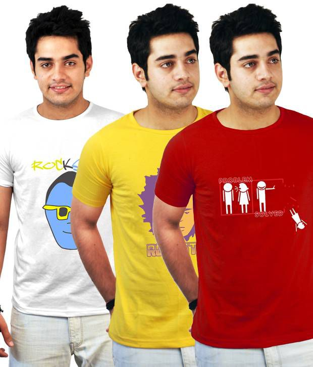 Incynk Smart Pack Of 3 Red-Yellow-White Printed T-Shirts