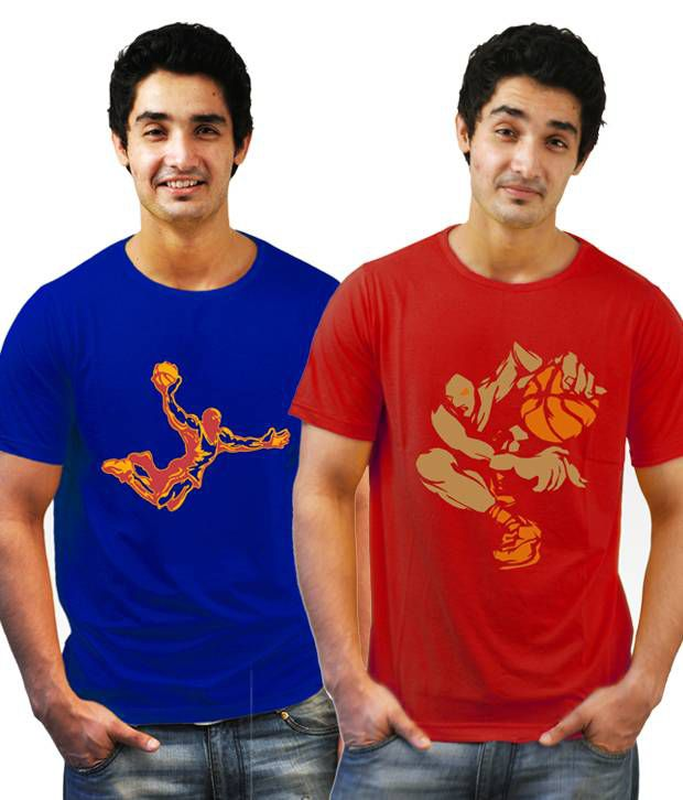 Incynk Combo of 2 Cool Red and Royal Blue Printed T Shirts