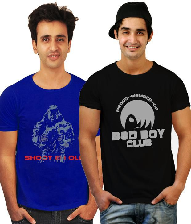 Incynk Combo of 2 Printed Royal Blue-Black T Shirts