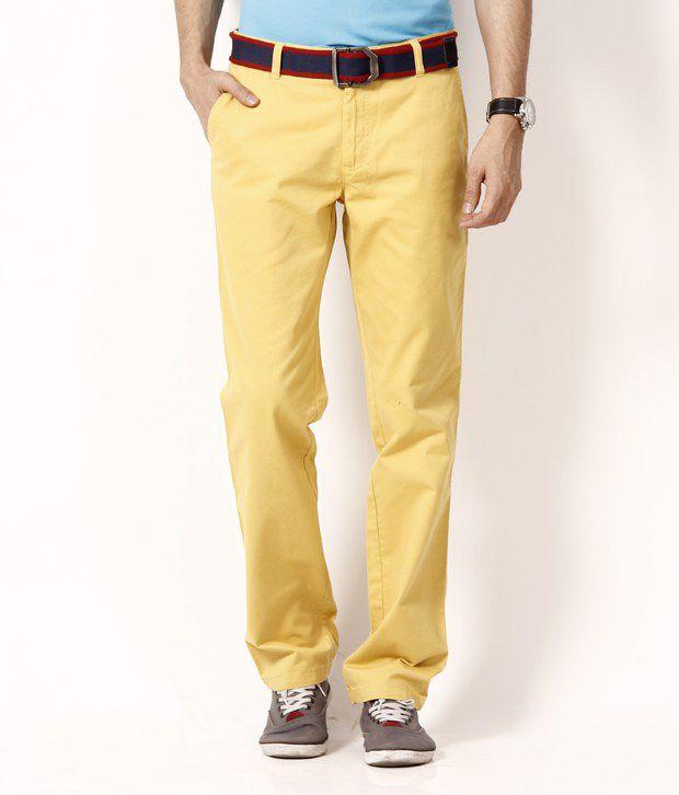Wills Lifestyle Amber Yellow  Cotton Trouser