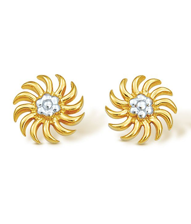 22Kt Hallmarked gold & Swarovski Zirconia  Floral  Earring By Nishtaa
