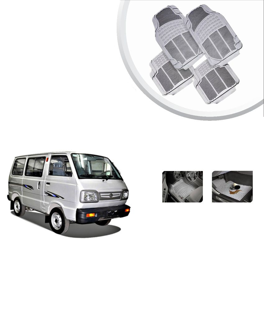 Rubber floor mats minivan - Flomaster Premium Rubber Floor Mats Grey Maruti Omni Set Of 4