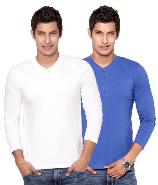 Phoenix White-Blue Pack Of 2 Henley T Shirts