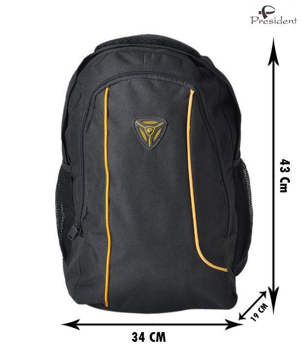 President Black & Yellow Piping Laptop Bag