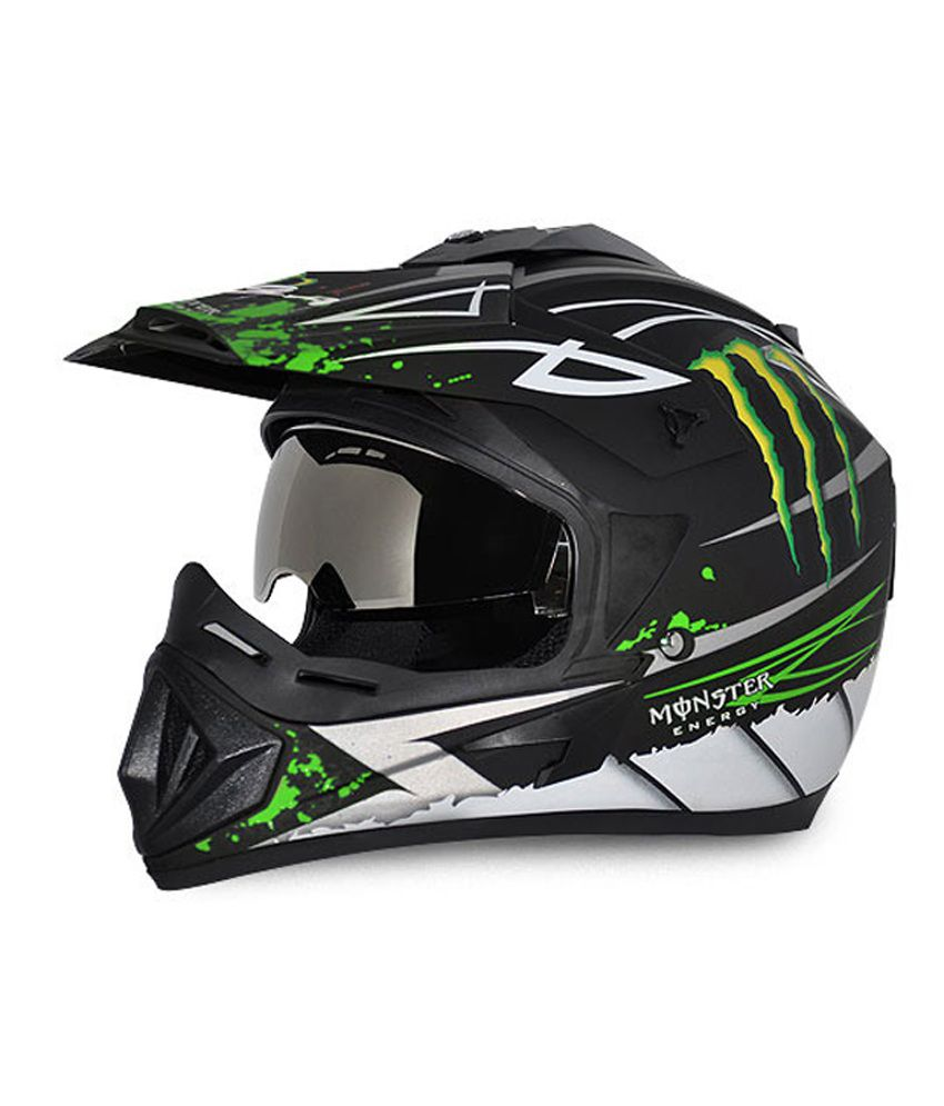 Vega Helmet - Off Road Graphic Monster (Dull Black Base with Green Graphics)