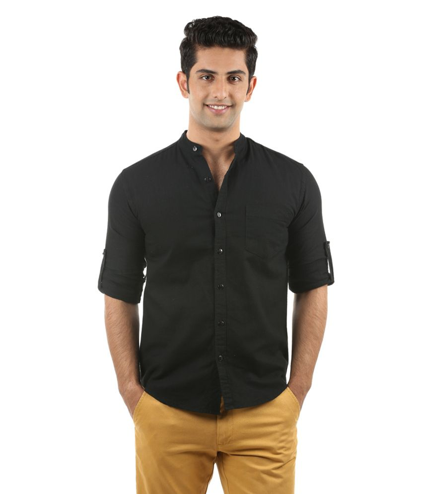 Nick&Jess Mens Black Linen Chinese Collared Casual Shirt ...