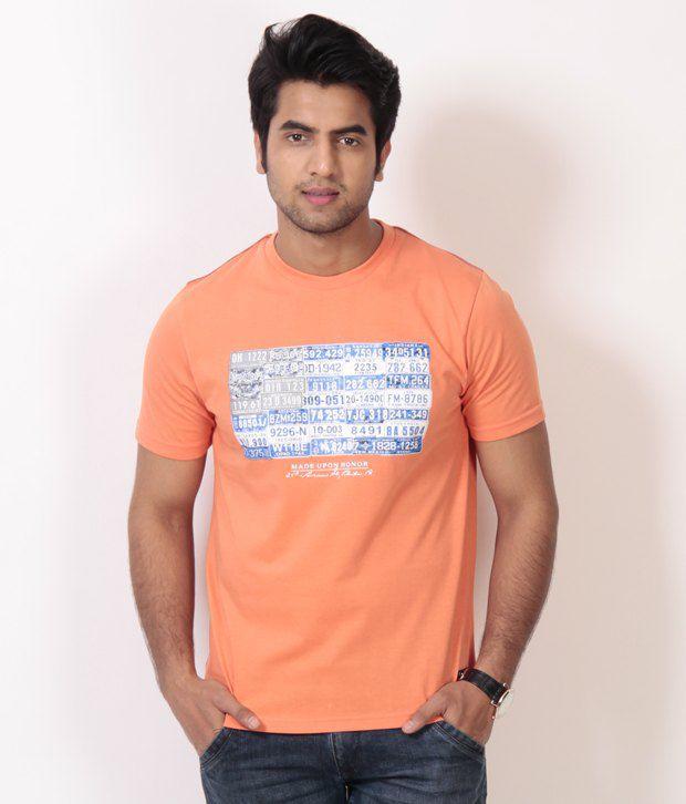 Club York Cool Light Orange Printed T Shirt