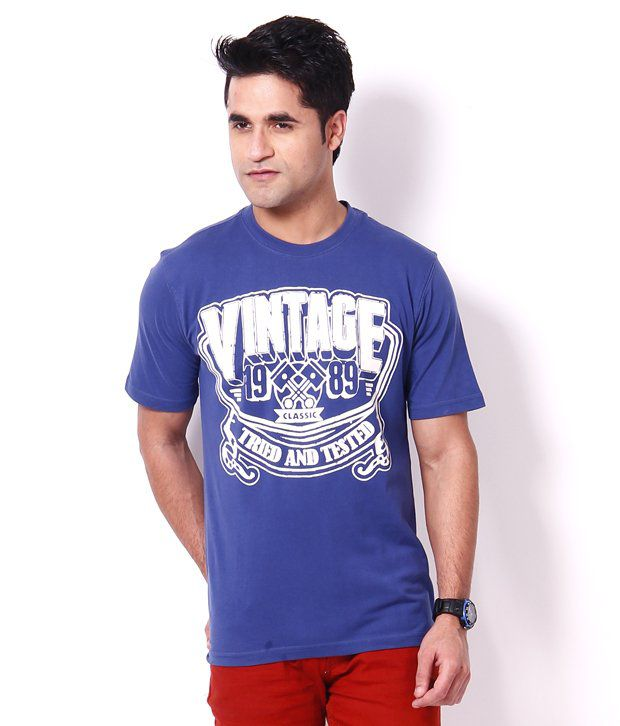 Palm Beach Blue Printed Cotton Men's T-Shirt