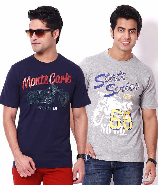 Palm Beach Gray & Navy Blue Printed Cotton Men's T-Shirts Combo Of 2