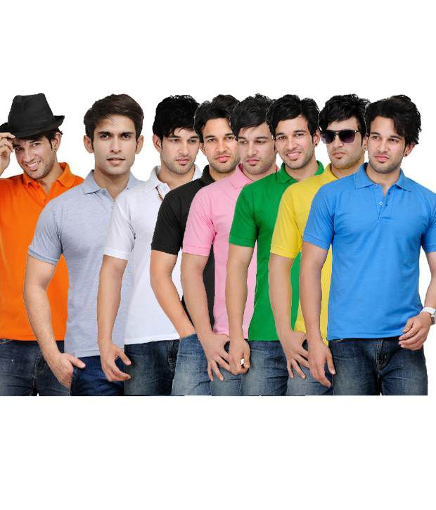 TSX Alluring Pack Of 8 Multicolor Polo T Shirts