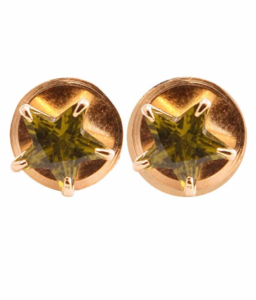 VaRaaGk Star Shapped Light Green 8mm Size Stud For Women