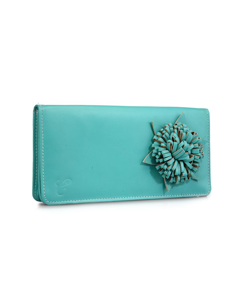 Contrast Turquoise Floral Leather Wallet